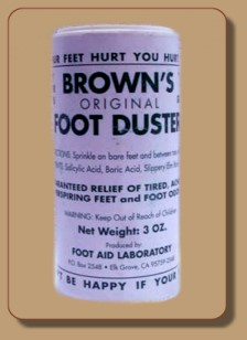 Brown's Foot Duster - Tired Feet, Perspiring Feet, Foot Odor